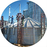 installation of grain bin or grain silo