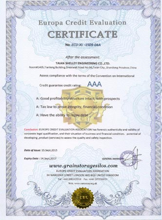Europa Credit Value Certificate of steel silos