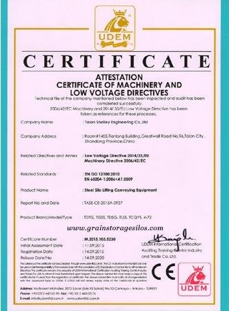 UDEM CE certificate of grain storage silos