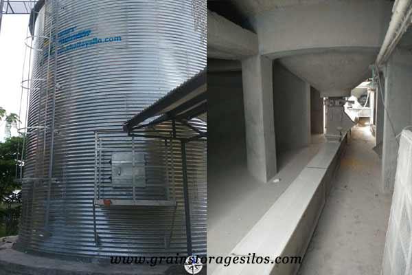 Concrete Silo Bottom of flat bottom grain silos
