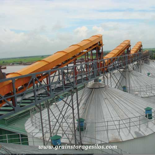 belt conveyor for steel grain storage silos